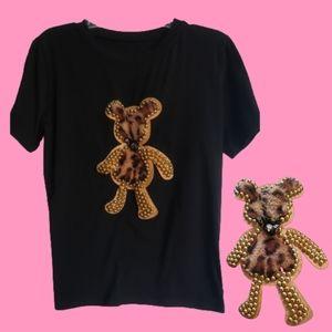 🐞Venus black brown faux fur beads tshirt large